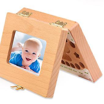boîte de rangement en bois pour bébé pour dents à feuilles caduques, cadre photo pour tout-petits