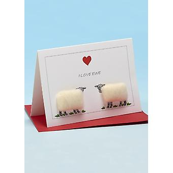 Me encanta la oveja oveja de ovejas hechas a mano tarjeta