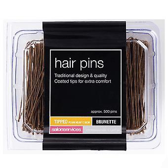 Salon Services Heavy Plain Hair Pin - 7.6cm Brown