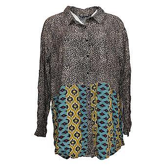 Tolani Coleção Women's Plus Top Button Frente Impressa Azul A382645