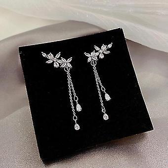 Ladies Drop Leaf Tassel Long Earrings
