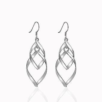 Lange oorbellen leaf cooperized zilveren ornament lange kwastje dubbele gedraaide oordruppels voor bruiloft
