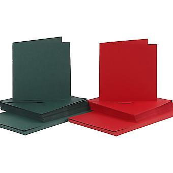 50 punainen & vihreä 15cm neliö kortit ja kirje kuoret kortin valmistukseen käsi töitä