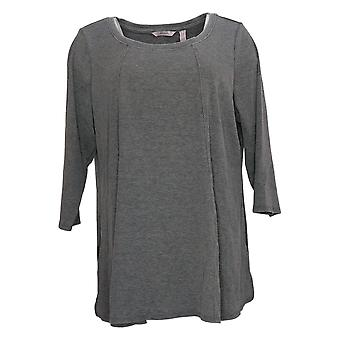 AnyBody Women's Plus Top Washed Rib Long Sleeve Seamed Gray A392856