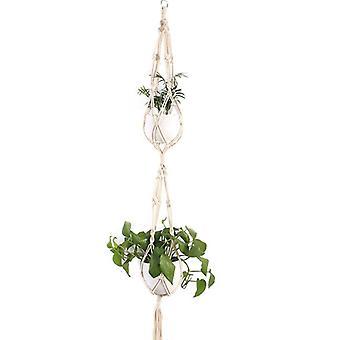 c) Macrame Plant Hanger Flower Pot Holder Hängande Jute Rep Vägg Dubbelskikt
