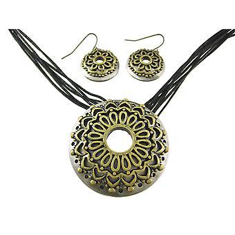 Twee Toon bloem multi Strand Necklace and Earrings Set