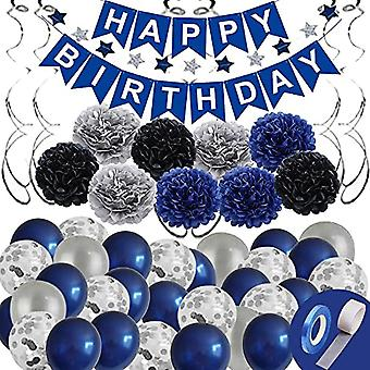 Blue Birthday Party Decorations,birthday Party Supplies Of Happy Birthday Banner,birthday Balloons,tissue Paper Pompoms And Star Garland