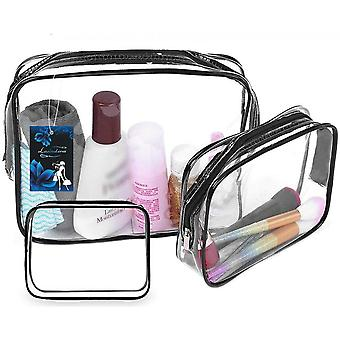 4pcs Travel Toiletry Bags Pouch Pvc Waterproof Zippered Cosmetic Bag For Vacation Travel Bathroom Organizing