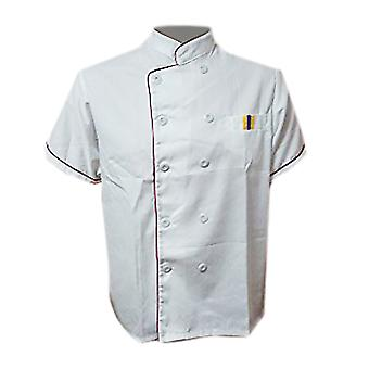 Short Sleeve Kitchen Cooker Working Uniform Chef Waiter Waitress Coat Jacket