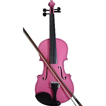 Student Acoustic Violin Full 1/8 Maple Spruce With Case Bow Rosin Pink Color3/4