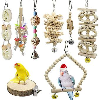 8 Pcs Bird Toy Bird Chew Toy Parakeet Macaw Parrot Toy Set