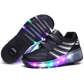 LED Light Up Roller Shoes Dupla kerék Usb újratölthető korcsolyacipő fekete/rózsaszín