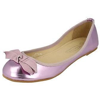 Damen-Spot auf flachen Ballerina Ribbon Bow Vamp Schuh