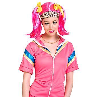 Wig rosa flettene søt hår