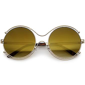 Oversize Wire Rimmed Temple Cutout Colored Mirror Round Sunglasses 58mm