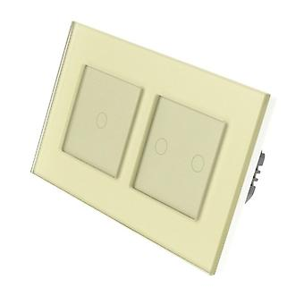 Я LumoS золото стекла Двойная рамка 3 Gang 1 способ удаленного WIFI / 4G сенсорный LED выключатель золота Вставка