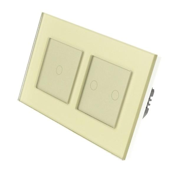 I LumoS Gold Glass Double Frame 3 Gang 2 Way Touch LED Light Switch Gold Insert
