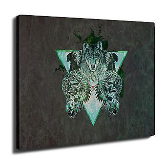 Wolf Skull Beast Wall Art Canvas 40cm x 30cm | Wellcoda