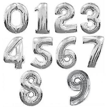 260Qs 34 polegadas metálico prata números balões (0-9)