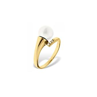 Women's Pearl Ring of White Culture AA 8 mm, Diamonds 0.02 cts and Yellow Gold 375/1000 3609