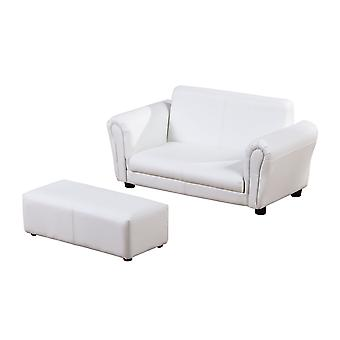 HOMCOM 2 Seater Kids Twin Sofa Childrens Double Seat Chair Furniture Armchair Boys Girls Couch w/ Footstool (White)