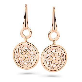 Orphelia Silver 925 Earring Rosegold cirkel met bloem Mop ZO-7163/RG