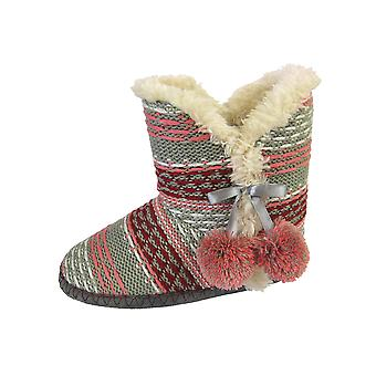 Dames de refroidisseurs rayure tricotée fausse fourrure doublé Bootie chaussons