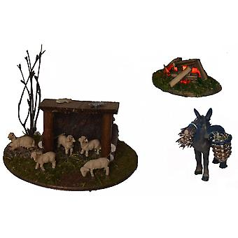 Sheep fold, donkey and lit fire for Nativity stable Nativity accessories