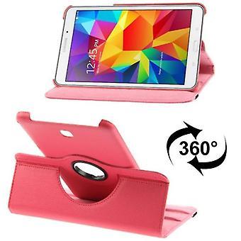 Ceniza de PU cubierta de la bandeja (flip Cruz) para Samsung Galaxy tab 4 8.0 SM T330 rosa