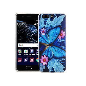 Mobile Shell voor Huawei P10 cover case beschermende zak motif slim TPU + armor bescherming glas 9 H blauwe vlinder
