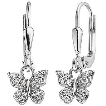 Kinder Ohrhänger Schmetterling 925 Silber mit Zirkonia Ohrringe Kinderohrringe