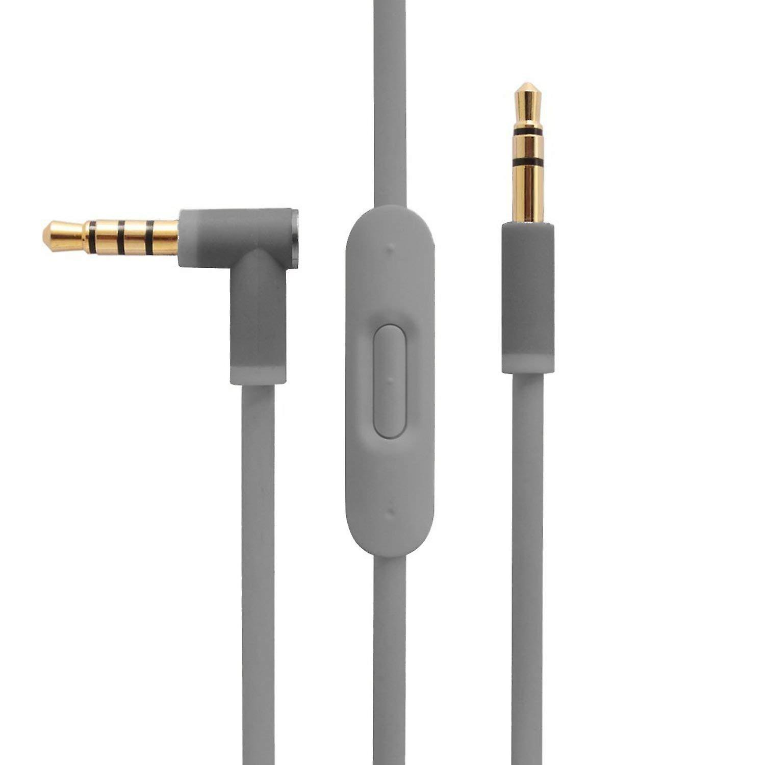REYTID Grey Audio Cable Compatible with Beats by Dr Dre Solo2 / Solo2 Wireless Headphones with Inline Remote, Volume Control and Microphone - Compatible with iPhone & Android