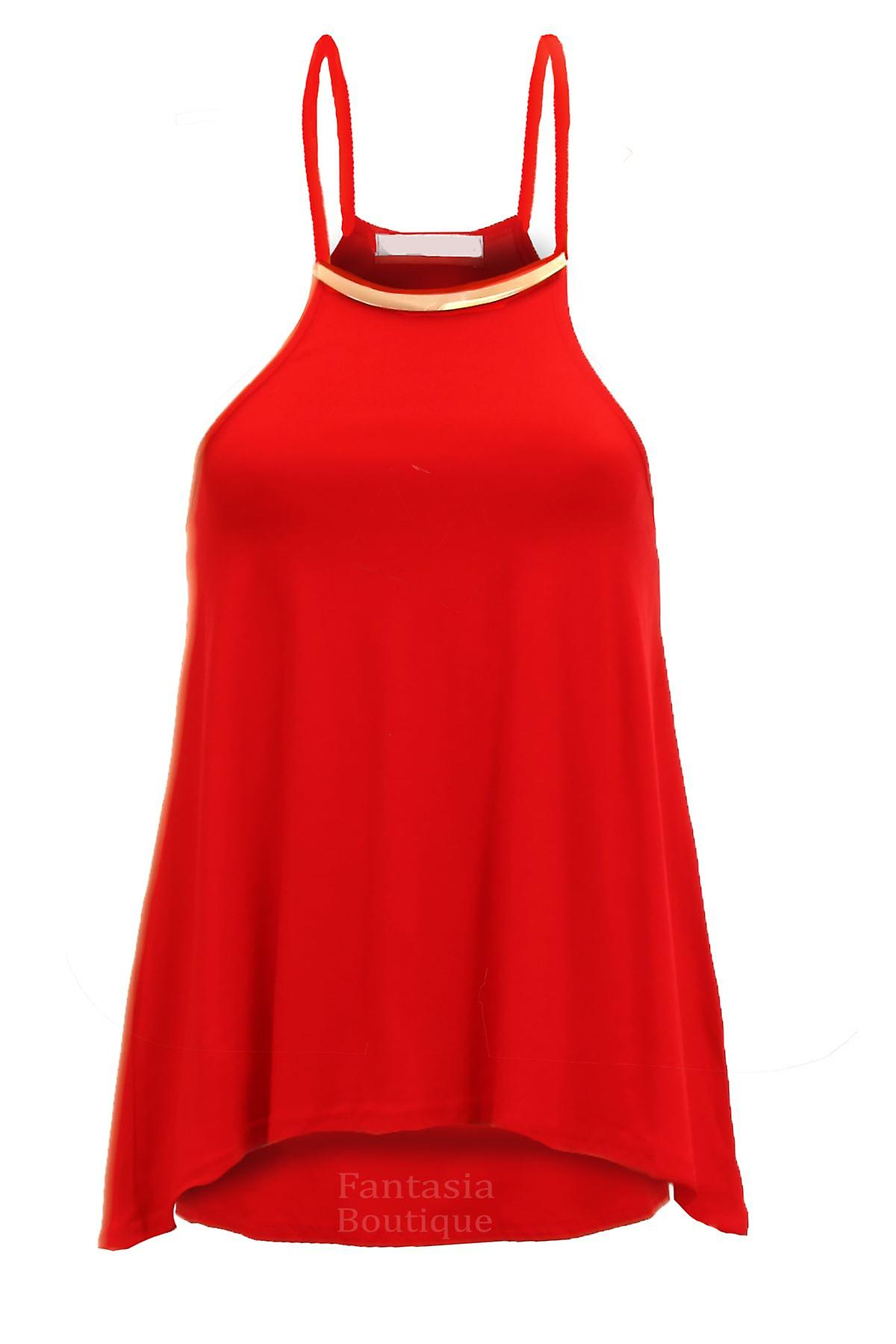 Ladies Gold Plated Necklace Thin Strappy Women's Swing Smock Racer Vest Top