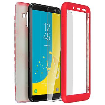 Mocca back and front silicone case + Tempered glass film for Galaxy J6 - Red