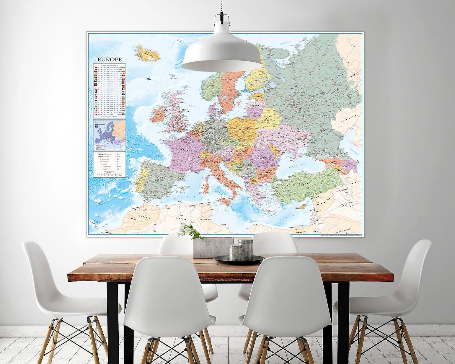 Map Of Europe Xxl Poster Flags English 135 X 100 Cm Giant Poster