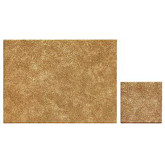 iStyle zestaw z 4 metalowe Faux skórzane podkładki i podkładki, złoto