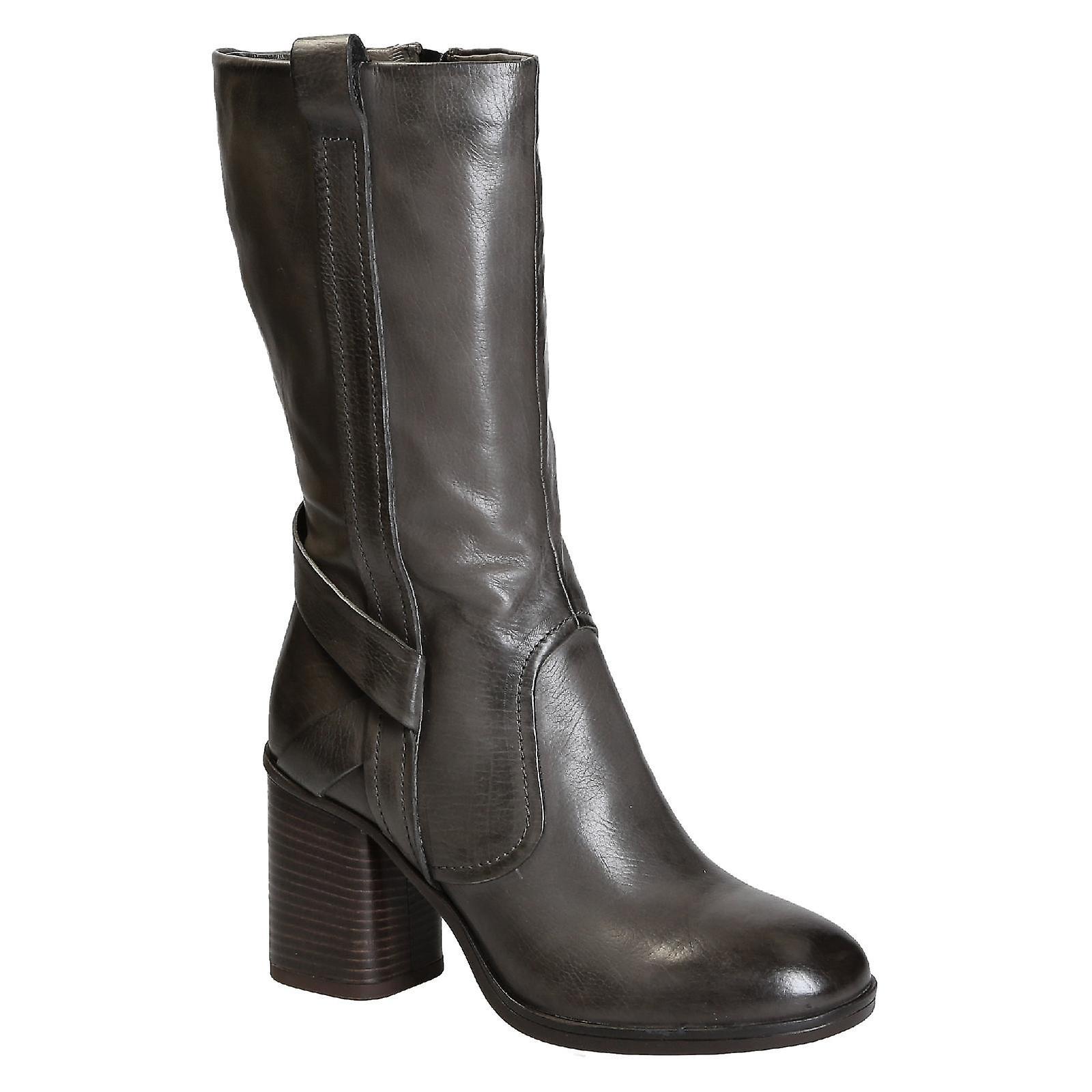 Block heels mid-calf boots in grey italian leather o9XjL
