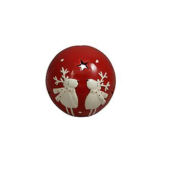 Red Ceramic Reindeer Tealight Holder Christmas