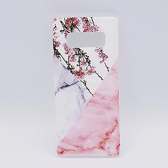 Für Samsung Note 8-Beutel-Dreieck Marmor Blume rosa