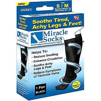 Støtte sokk, kompresjons sokk, Miracle SOCKS, 1 par, svart