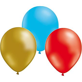 Balloons 24-pack - Gold, Red and Blue