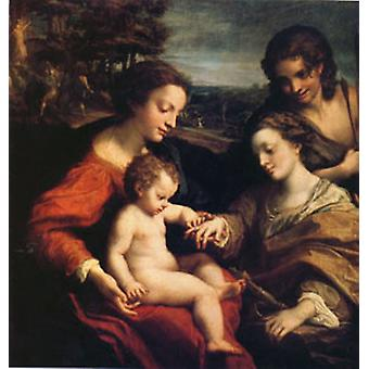 Die mystische Ehe, Correggio, 50x50 cm