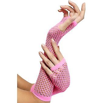 Fishnet Gloves Pink, Hot Pink