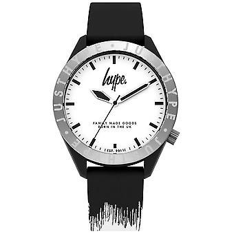 Campagna pubblicitaria | Cinturino in Silicone uomo nero/bianco | Quadrante bianco | HYG006BW orologio