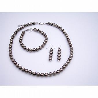 Brown perły biżuteria, 7mm, ustawionych bransoletka naszyjnik z pereł Swarovski Brown