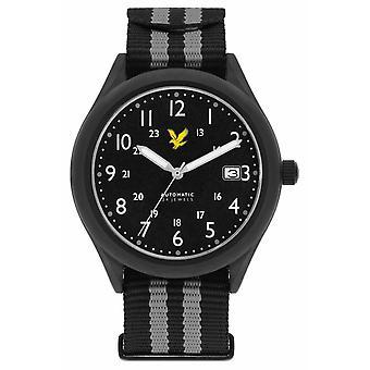 Lyle & Scott Mens Stealth automatisk svart grå Nato armband svart urtavla LS-6006-03 klocka