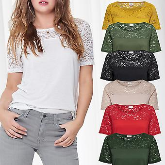 JDY Womens T-Shirt Lace Short Sleeve Tops Only JDYKIMMIE Jersey Top Basic Casual