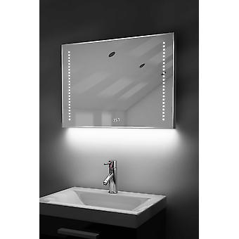 Digital Clock Slim Mirror with Under Lighting, Demist & Sensor k192w