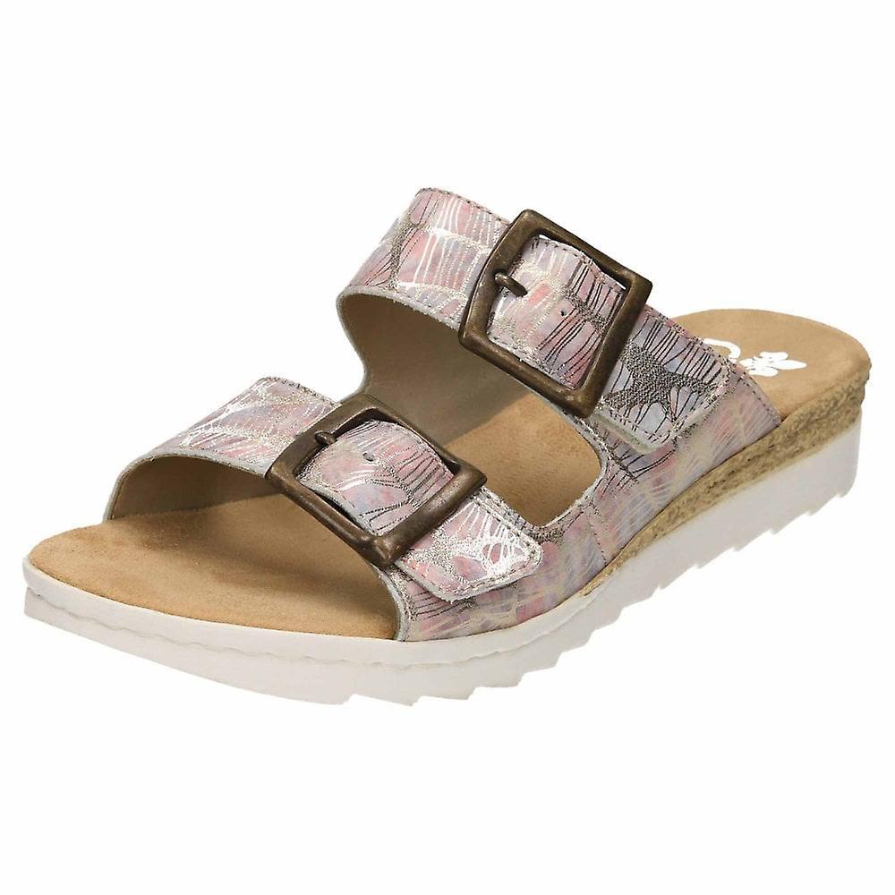 Rieker 63094-90 Slip On Mule Leather Sandals