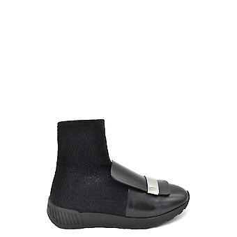 Sergio Rossi Ezbc040016 Women's Black Fabric Ankle Boots